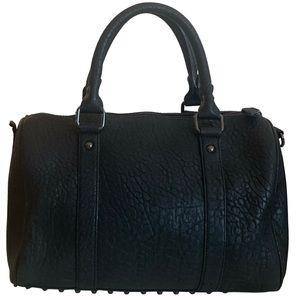 Hibou Black Leather Handbag With Studded Bottom